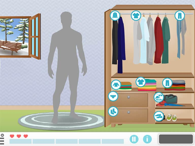 man get dressed activity of daily living